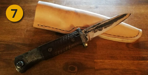 bayoneta restaurada con vaina de cuero