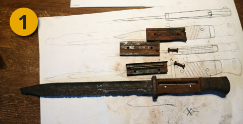 dibujo de bayoneta oxidada